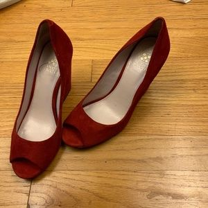 Vince Camuto Red Suede Berit Heels Size 7M
